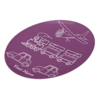 Plane, Train and Car Design ~ editable background Party Plate