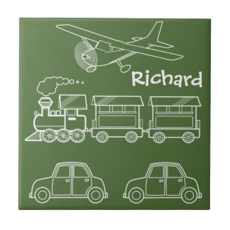 Plane, Train and Car Design ~ editable background Small Square Tile