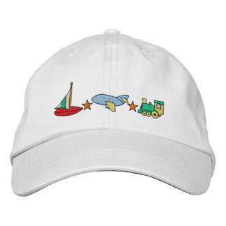 Plane, Train, Sailboat Embroidered Hats