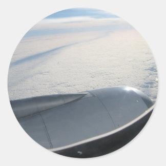 Plane view 2 round stickers
