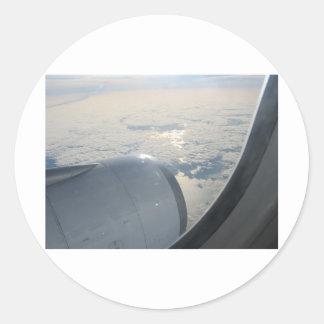 Plane view 3 round sticker