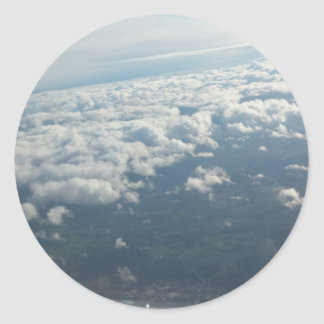 Plane View, Awesome Clouds, Sky Round Sticker