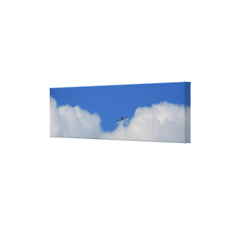 Plane With Clouds Panoramic Canvas Print