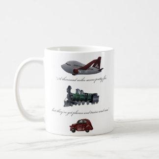 planes and trains and cars mug