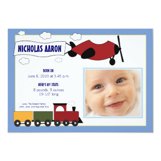 Planes and Trains Birth Announcement (periwinkle)