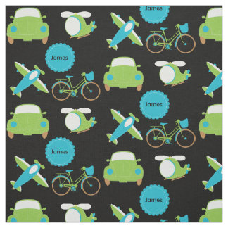 Planes, Bikes, and Automobiles Blue Fabric