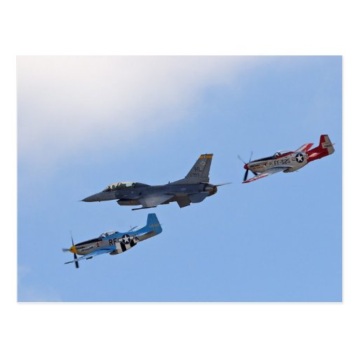 Planes Heritage Filghts Jets P 51 Mustangs Post Card