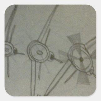 Planes in flight square sticker