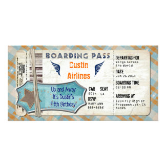 Planes Party Boarding Pass Personalized Photo Card