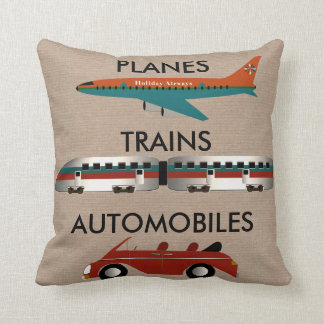 Planes, Trains and Automobiles Throw Pillow