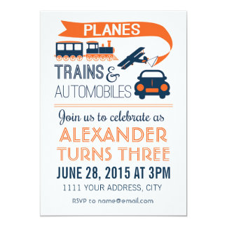 Planes, Trains & Automobiles Invitation