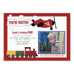 Planes & Trains Birthday Party Invite (red)