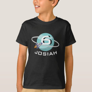 Planet and Spaceship, Birthday T-Shirt