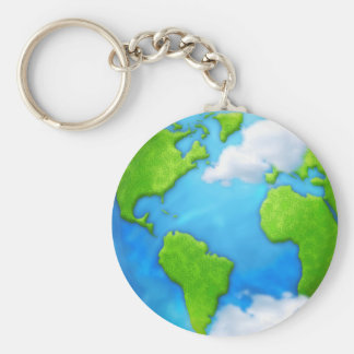 Planet Earth and clouds keychain