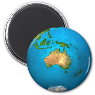 Planet Earth - Australia - Colorful Globe. 3d 6 Cm Round Magnet