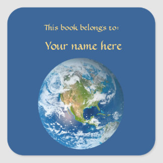 Planet Earth Blue Bookplate Sticker