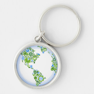 Planet Earth Eco Green Recycle Keychain, Small Silver-Colored Round Key Ring