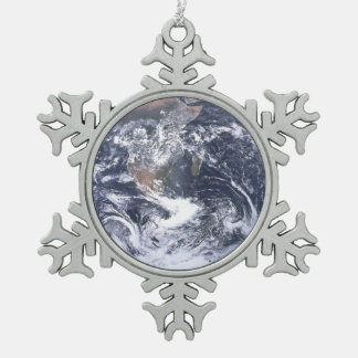Planet Earth From Space Earth Day Snowflake Pewter Christmas Ornament