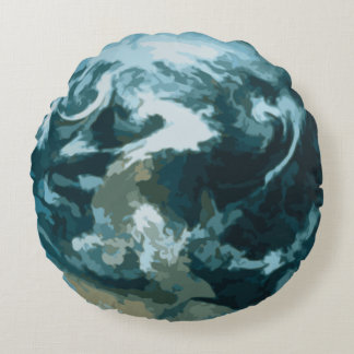 Planet Earth Painting Round Cushion