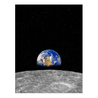 Planet Earth Rising Over Moon Postcard