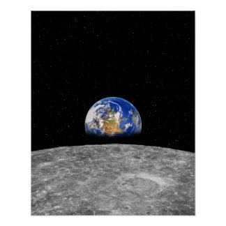 Planet earth rising over Moon Poster