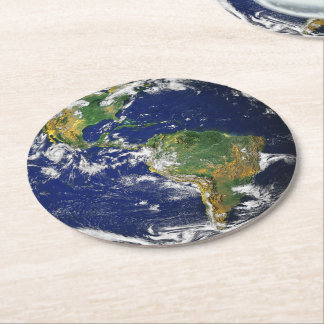 Planet Earth Round Paper Coaster