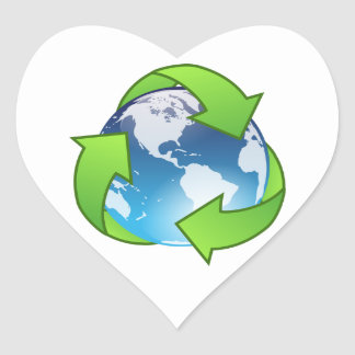 Planet Earth Surrounded by Green Recycling Symbol Heart Sticker