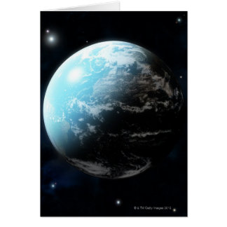 Planet earth with stars all around card