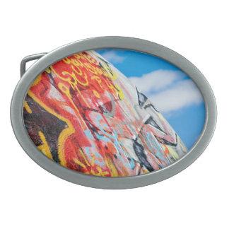 planet graffiti oval belt buckle
