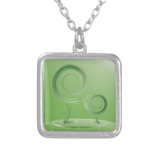 planet green silver plated necklace