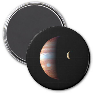 PLANET JUPITER AND ITS VOLCANIC MOON IO (space) ~ 7.5 Cm Round Magnet