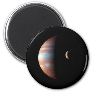 PLANET JUPITER AND ITS VOLCANIC MOON IO (space) ~ 6 Cm Round Magnet