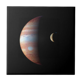 PLANET JUPITER AND ITS VOLCANIC MOON IO (space) ~ Small Square Tile
