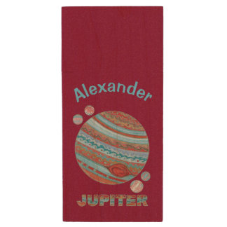 Planet Jupiter And Moons Colorful Space Geek Wood USB 2.0 Flash Drive
