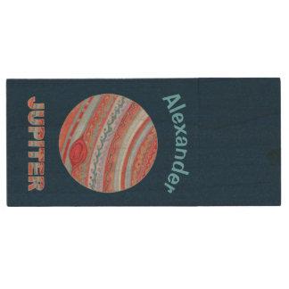 Planet Jupiter Colorful Space Geek Solar System Wood USB 2.0 Flash Drive