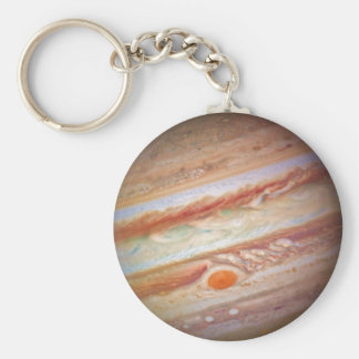 PLANET JUPITER - red spot head on (solar system) ~ Basic Round Button Key Ring