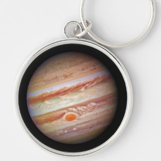 PLANET JUPITER ` red spot head on (solar system) ~ Silver-Colored Round Key Ring