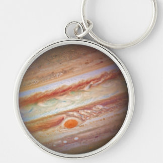 PLANET JUPITER - red spot head on (solar system) ~ Silver-Colored Round Key Ring