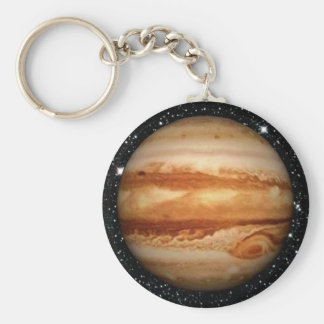PLANET JUPITER v.3 star background (solar system) Basic Round Button Key Ring