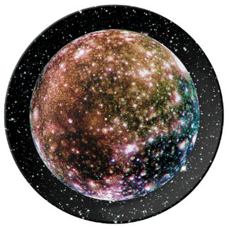 PLANET JUPITER'S MOON - CALLISTO Star Background 2 Plate