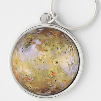 PLANET JUPITER'S MOON IO (solar system) ~ Silver-Colored Round Key Ring