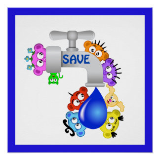Planet Peek-A-BOO /Save Water design Poster