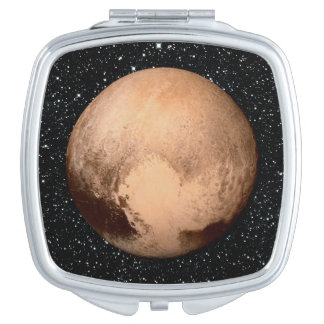 PLANET PLUTO HEART star background (solar system) Makeup Mirror