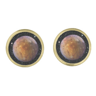 PLANET PLUTO star background (solar system) ~ Gold Finish Cuff Links