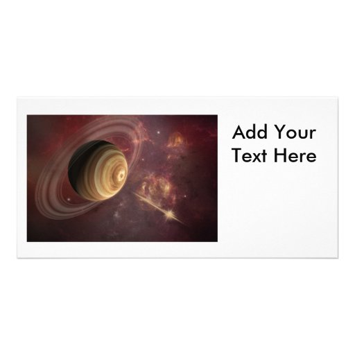 Planet, stars and Sun in Galaxy Fantasy Art Photo Greeting Card