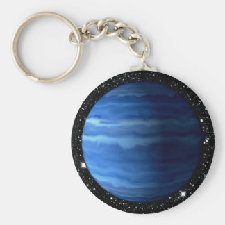 PLANET URANUS v.2 star background (solar system) ~ Basic Round Button Key Ring
