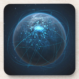 Planet With Illuminated Network And Light Trails Beverage Coaster