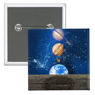 Planetary alignment, computer artwork. 15 cm square badge