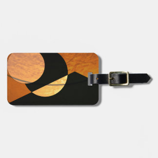 Planets Glow, Black and Copper, Graphic Design Luggage Tag