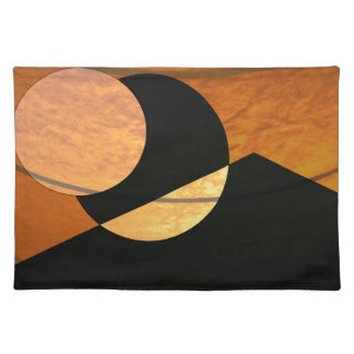 Planets Glow, Black and Copper, Graphic Design Placemat